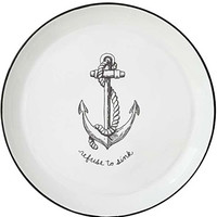 Refuse To Sink Anchor Print Enamel Tray