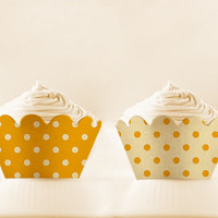 INSTANT DOWNLOAD Printable Cupcake Wrappers SAFFRON Retro Polka Lover Diy
