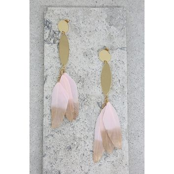Tickle Me Pink Earrings in Light Pink and Gold