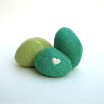 Teal and Moss Felted Stones  6  Unique wool woolly by Fairyfolk