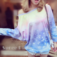 Pastel Galaxy Stars Loose Long Jumper Top Free Ship SP141430