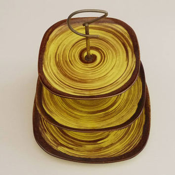 Antique french Ceramic Three Tier Cake Stand, Tray Cookie. Rare Pastry Tray Hand Painted Earthenware Badonviller Yellow Brown Spiral Pattern