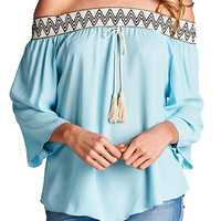 Off-Shoulder Chevron Peasant Top