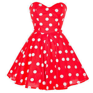 Style Icon's Closet 50s style Vintage Inspired Pin-Up African Print Retro Rockabilly Clothing — Red Polka Dot Party Dress