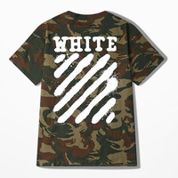 Ulzzang Oversize Skateboard Off White T Shirt Men Funny Diagonal Strip T-shirts High Street Camouflage Personality Cotton Tee