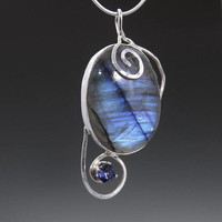 Blue Labradorite Pendant Necklace with Iolite, Blue Spectralite, Labradorite Jewelry, Labradorite and Stelring Silver
