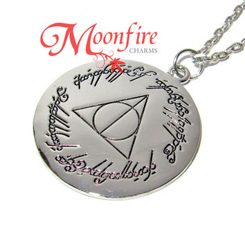 WIZARDING WORLD THE RING FELLOWSHIP Lord of the Deathly Hallows Mashup Pendant Necklace