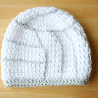 Volleyball Hat, crochet photo prop, baby girl photo prop, white and gray, Newborn to 12 Months
