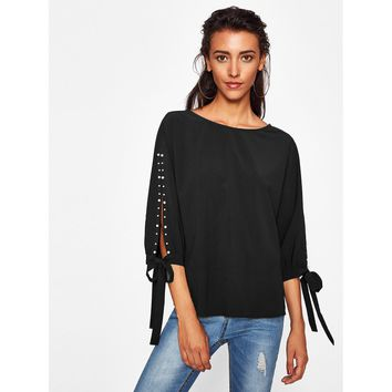 Pearl Beading Bow Tied Split Sleeve Blouse Black
