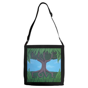 Love is the Root of Life - Adjustable Strap Tote of Acrylic Paint Fine Art