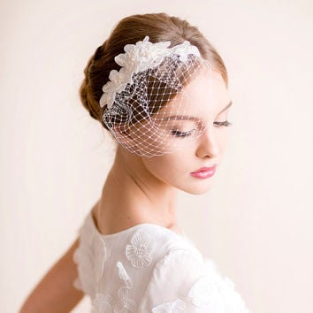 Lace Hair Piece with Small Birdcage Veil - Bridal Lace Hair Piece - Bridal Birdcage Veil with Lace - Pearl, Lace, Ivory