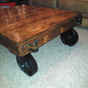 Reproduction Industrial Factory Cart Coffee Table