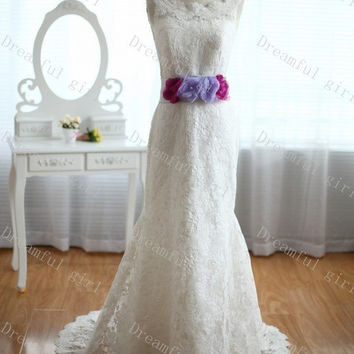 Jewel neckline floor-length lace with flowers 2014 new spring wedding dress