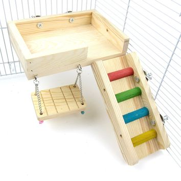 Alfie Pet by Petoga Couture - Ray Wooden Swing, Ladder and Resting Platform set for Mouse, Chinchilla, Rat, Gerbil and Dwarf Hamster