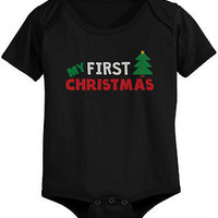 My First Christmas Baby Bodysuit - Pre-Shrunk Cotton Snap-On Style Baby Onesuit