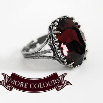 Red Gothic Ring Engagement Burgundy Swarovski Crystal Dark Antique Silver Victorian Jewelry