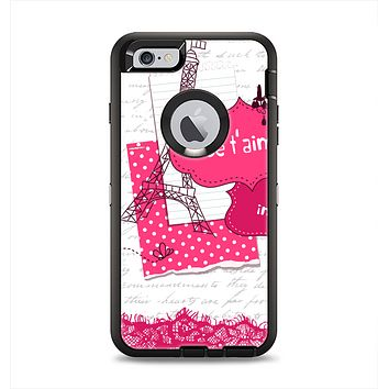 The Paris Pink Illustration Apple iPhone 6 Plus Otterbox Defender Case Skin Set