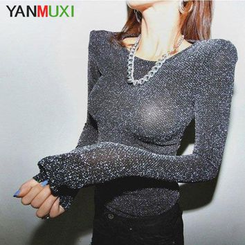European Style 2018 Sexy Black Long Sleeve Women T Shirt Clubwear Solid Sequined Evening Party Blusas Skinny Women Tops Tees