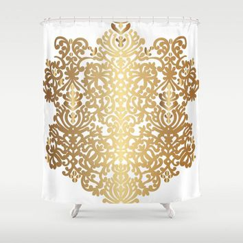 "Shower Curtain 71""x 74"" Spanish Medallion Gold"