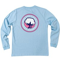Sig Logo Long Sleeve Tee Shirt in Placid Blue by The Southern Shirt Co. - FINAL SALE