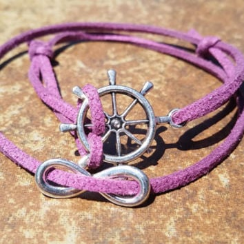 Purple Leather Silver Infinity Rudder Bracelet Anklet Charm Men Women Unisex Fashion New Love Cute Diy Friendship