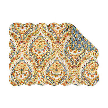 C & F Enterprises Quilted Mandalay Table Linens - Turquoise Place mat