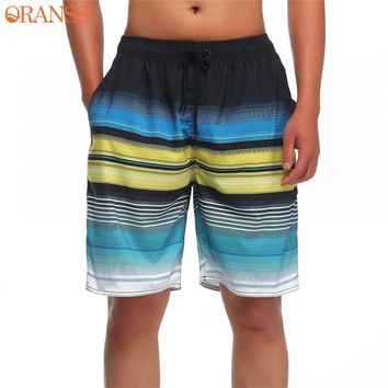 Men's Surfing Quick Dry Beach Shorts Striped Print Summer Board Shorts Drawstring Pockets Swimming Trunks Gyms Men Shorts