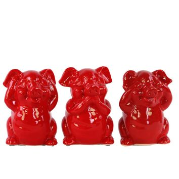 Colorful Standing Pig No Evil Figurines - Assortment of 3 -Red-Benzara