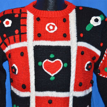 90s Sister Sister Heart Flowers 3D Ugly Sweater Girl's Large 14
