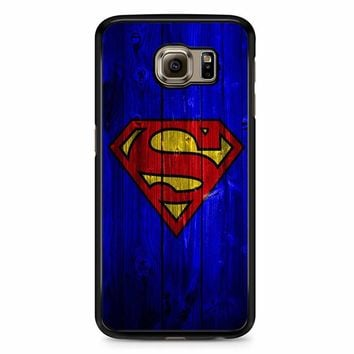 Superman Logo On Wood Blue Samsung Galaxy S6 Case