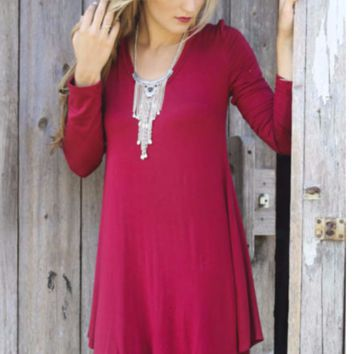 Round Neck Long Sleeves  Irregular Hem Loose Dress