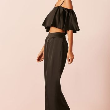 Satin Open-Shoulder Crop Top and Pants Set