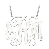 Sterling Silver 42mm .027 Gauge Monogram Plate Necklace