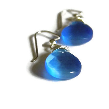 Wire wrapped Earrings blue silver briolettes Christmas gift under 25 stocking stuffer