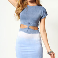 Jasmine Tie Dye Knot Front Bodycon Dress