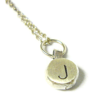 Sterling silver monogram necklace tiny Monogram by WatchMeWorld