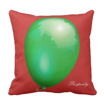 Green toy balloon funny unique throw pillow