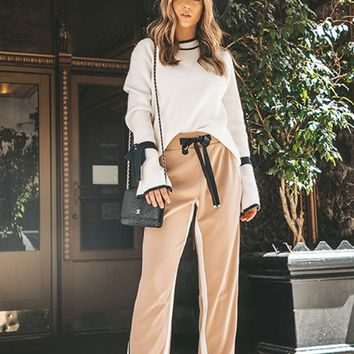 In The Mix Elastic High Waist Ribbon Tie Side Stripe Loose Snap Leg Track Pant - 3 Colors Available