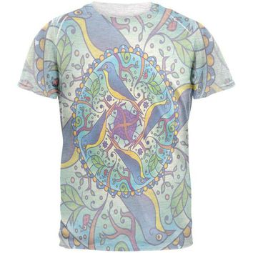 LMFCY8 Mandala Trippy Stained Glass Spring Birds Mens T Shirt