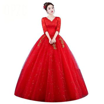 Gold Embroidery Wedding Dresses V Neck Lace Half Sleeve Red Romantic Bride Gown Lace Adjust