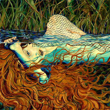 RW2 SHOWER CURTAIN Ophelia mermaid surrealism nude fantasy art copper green orange aqua sea