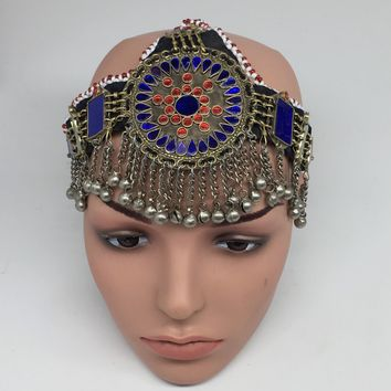 Kuchi Headdress Headpiece Afghan Ethnic Tribal Jingle Alpaca Bells Glass,CK649