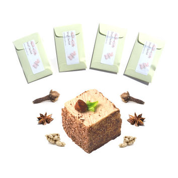 4 Bavarian Spice Cake Scented Sachets - Spice Favors - For Spice Wedding - Pastel Green Packets - Modern Rustic Decor