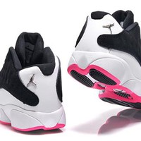 Hot Air Jordan 13 Low Women Shoes Black White Pink