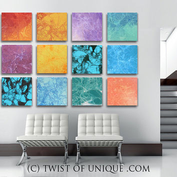 Large Colorful  Wall Art, - 12 square (15 Inches x 15 Inches) ORIGINAL Painting- Red, orange, yellow, Green purple, blue, violet, turquoise