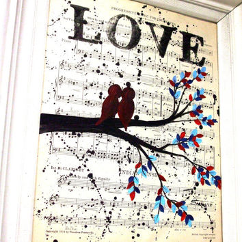 Unique Engagement Gift - Vintage Music Sheet Painting of Love Birds In A Tree  - Unique First Anniversary Gift, Paper Gift, wedding gift