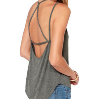 Women's Open Strappy Back Charcoal Tank Top
