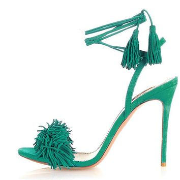 Summer Sandals Women High Heels Fringe Gladiator Sandals Women Lace Up Shoes Woman Suede Leather Green Ladies Sandals