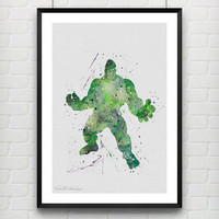 Hulk Poster, The Incredible Hulk Watercolor Print, Marvel SuperHero Boy's Room Poster, Wall Art, Not Framed, Buy 2 Get 1 Free! [No. 105]
