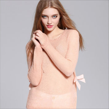Women Fashion Style Solid Crew Neck Jumper Pullover Sheer See Through Crochet Sweater With Bow